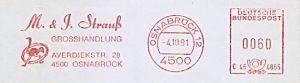 Freistempel C45 4855 Osnabrück - M. & J. Strauß Grosshandlung (Abb. Straußenvogel) (#609)