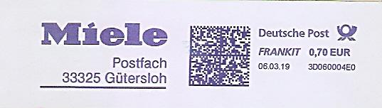 Freistempel 3D060004E0 Gütersloh - Miele (#678)