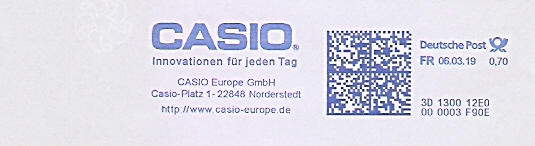 Freistempel 3D130012E0 Norderstedt - CASIO Europe GmbH - Innovationen für jeden Tag (#679)