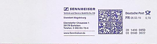 Freistempel 2D1400085D Magdeburg - SENNHEISER (#682)