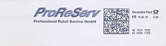 Freistempel 4D1314125E - ProReServ Professional Retail Service GmbH (#683)