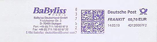 Freistempel 4D120007F2 Stuttgart - BaByliss Paris - BaByliss Deutschland GmbH (#684)