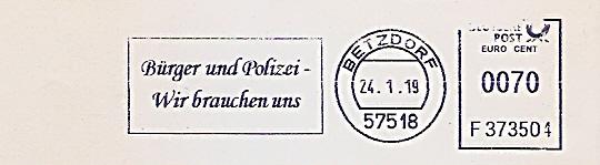 Freistempel F373504 Betzdorf - Bürger und Polizei - Wir brauchen uns (#688)