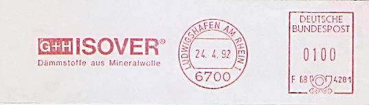 Freistempel F68 4281 Ludwigshafen am Rhein - G+H ISOVER Dämmstoffe aus Mineralwolle (#691)