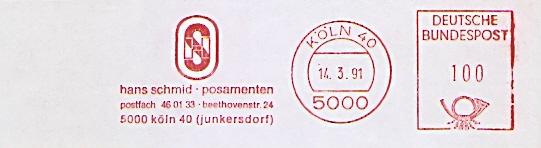 Freistempel Köln - Hans Schmid - Posamenten - Köln Junkersdorf (#692)