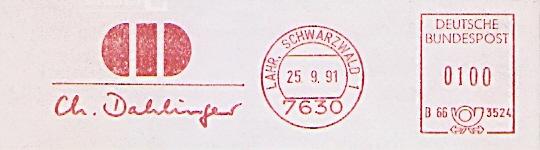 Freistempel B66 3524 Lahr, Schwarzwald - Ch. Dahlinger (#696)