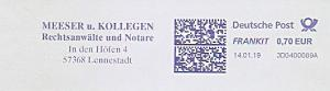 Freistempel 3D0400089A Lennestadt - Meeser u. Kollegen - Rechtsanwälte und Notare (#740)