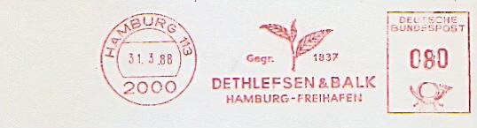 Freistempel Hamburg - DETHLEFSEN & BALK - Hamburg Freihafen - Gegr. 1837 (Abb. Teeblätter) (#828) 0
