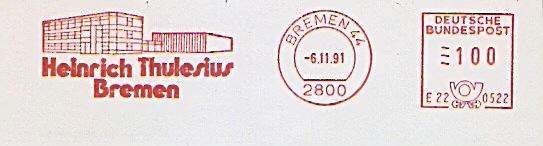 Freistempel E22 0522 Bremen - Heinrich Thulesius Bremen (Abb. Firmengebäude) (#829) 0