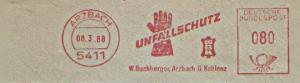 Freistempel Arzbach - W. Buchberger, Arzbach ü. Koblenz - UNFALLSCHUTZ WBK (Abb.Schutzhandschuhe) (#880)
