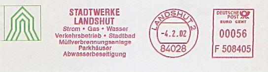 Freistempel F508405 Landshut - Stadtwerke Landshut - Strom Gas Wasser Verkehrsbetrieb Stadtbad Müllverbrennungsanlage Parkhäuser Abwasserbeseitigung (#910) 0