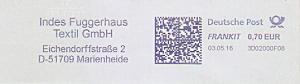 Freistempel 3D02000F08 Marienheide - Indes Fuggerhaus Textil GmbH (#946)