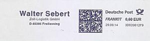 Freistempel 3D020012F9 Freilassing - Walter Sebert - Zoll Logistik GmbH (#957)