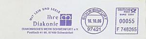 Freistempel F748265 Schweinfurt - Diakonisches Werk Schweinfurt - Ihre Diakonie mit Leib und Seele (Abb. Kronenkreuz) (#982)
