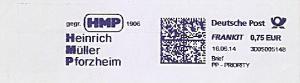 Freistempel 3D05005148 Pforzheim - HMP gegr. 1906 - Heinrich Müller Pforzheim (#1148)