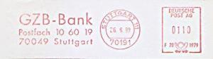 Freistempel F70 1979 Stuttgart - GZB Bank Stuttgart (#1172)