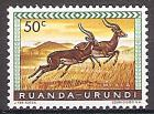 Briefmarke Ruanda-Urundi Mi.Nr. 164 A ** Geschützte Tiere 1959 - Motiv: Impala (Aepyceros melampus) (#10009)