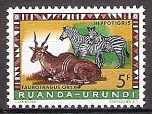 Briefmarke Ruanda-Urundi Mi.Nr. 169 A ** Geschützte Tiere 1959 - Motiv: Elenantilope (Taurotragus oryx), Zebra (Equus sp.) (#10010)