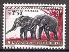 Briefmarke Ruanda-Urundi Mi.Nr. 168 A ** Geschützte Tiere 1959 - Motiv: Afrikanischer Elefant (Loxodonta africana) (#10011)