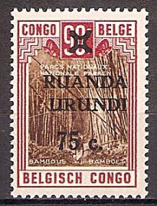 Briefmarke Ruanda-Urundi Mi.Nr. 75 ** Freimarke 1942 - Belgisch-Kongo MiNr. 174 (Nationalparks) mit Aufdruck RUANDA / URUNDI und neuem Wert (#10015)