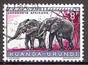 Briefmarke Ruanda-Urundi Mi.Nr. 171 A o Geschützte Tiere 1959 - Motiv: Afrikanischer Elefant (Loxodonta africana) (#10016)