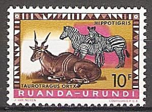 Briefmarke Ruanda-Urundi Mi.Nr. 172 A ** Geschützte Tiere 1959 - Motiv: Elenantilope (Taurotragus oryx), Zebra (Equus sp.) (#10021)