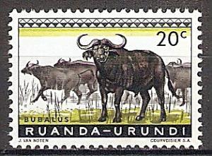 Briefmarke Ruanda-Urundi Mi.Nr. 162 A ** Geschützte Tiere 1959 - Motiv: Kaffernbüffel (Syncerus caffer) (#10022)