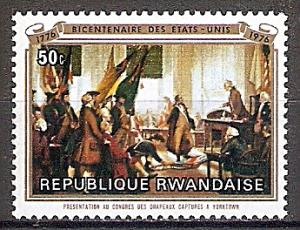 Briefmarke Ruanda Mi.Nr. 785 ** 200 Jahre Unabhängigkeit der Vereinigten Staaten von Amerika 1976 - Motiv: Präsentation der erbeuteten Fahnen von Yorktown im Kongress (#10023)