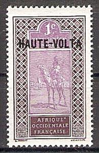 Briefmarke Obervolta Mi.Nr. 1 ** Kamelreiter 1920  (Obersenegal-Niger MiNr. 18 mit schwarzem Bdr.-Aufdruck HAUTE-VOLTA) Motiv: Kamelreiter (#10024)
