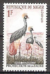 Briefmarke Niger Mi.Nr. 1 ** Tierschutz 1959 Motiv: Kronenkranich (Balearica pavonina) (#10026)