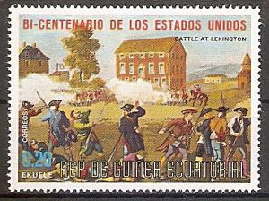 Briefmarke Äquatorial Guinea Mi.Nr. 560 ** 200 Jahre Unabhängigkeit der USA 1975 Motiv: Schlacht bei Lexington (#10027)