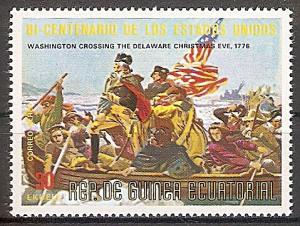 Briefmarke Äquatorial Guinea Mi.Nr. 567 ** 200 Jahre Unabhängigkeit der USA 1975 Motiv: Washington überquert den Delaware am Heiligabend 1776 (#10031)