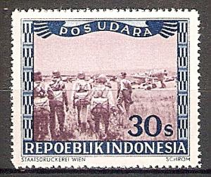 Briefmarke Indonesien Lokalausgaben Mi.Nr. 29 ** Flugpostmarken: Landesname REPOEBLIK INDONESIA und Inschrift POS UDARA 1947 Motiv: Beratung der Piloten vor den Flugzeugen (#10034)