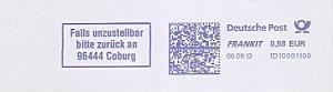 Freistempel 1D10001106 Coburg - Falls unzustellbar bitte zurück an 96444 Coburg (#1261)