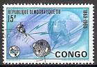 Briefmarke Kongo-Kinshasa Mi.Nr. 230 o 100 Jahre Internationale Fernmeldeunion (ITU) 1965 Motiv: Erdkugel, Satelliten, Blitzstrahlen und ITU-Emblem (#10048)