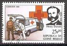 Briefmarke Guinea-Bissau Mi.Nr. 853 o Internationales Rotes Kreuz 1985 Motiv: Henry Dunant (1828-1910), schweizerischer Philanthrop und Mitbegründer des Roten Kreuzes, Friedensnobelpreis 1901 / Krankenwagen, Arzt, Helfer (#10049)