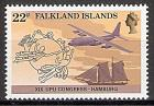 Briefmarke Falklandinseln Mi.Nr. 411 ** Weltpostkongress  Hamburg 1984 (UPU) Motiv: Flugzeug, Schoner, Emblem des Weltpostvereins (#10060)