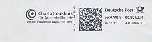 Freistempel 4D1200376E Stuttgart - Charlottenklinik für Augenheilkunde - Stiftung bürgerlichen Rechts, seit 1891 (#1300)