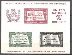 Briefmarke UNO New York Mi.Nr. Block 1 ** 10 Jahre UNO 1955 (#10065)