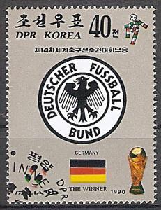 Briefmarke Korea-Nord Mi.Nr. 3125 o Sieg der deutschen Nationalmannschaft bei der Fußball-Weltmeisterschaft Italien 1990 Motiv: Fussball - Emblem DFB Deutscher Fussball Bund (#10067)