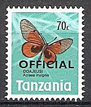 Briefmarke Tansania Dienstmarke Mi.Nr. 22 ** Dienstmarken 1973 Motiv: Schmetterlinge (#10068)