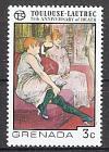 Briefmarke Grenada Mi.Nr. 778 ** 75. Todestag von Henri de Toulouse-Lautrec 1976 Motiv: Gemälde - Cha-u-kao im Moulin Rouge (#10070)
