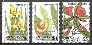 Briefmarke Grenada-Grenadinen Mi.Nr. 608-10 ** Weltpostkongress Hamburg (UPU) 1984 (Kompletter Satz! + Einzelmarke aus Block!) Motiv: Blumen mit Aufdruck (#10072)