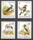 Briefmarke Jugoslawien Mi.Nr. 2463-2466 ** Geschützte Tiere 1991 Zugvögel (Kompletter Satz!) Motiv: Vögel - Kiebitz, Rotkopfwürger, Kranich, Gänsesäger (#10079)