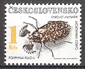 Briefmarke Tschechoslowakei Mi.Nr. 3122 ** Naturschutz 1992 Geschützte Käfer Motiv: Insekten - Walker (Polyphylla fullo) (#10080)