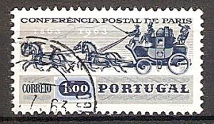 Briefmarke Portugal Mi.Nr. 938 o 100. Jahrestag der 1. internationalen Postkonferenz in Paris 1963 Motiv: Postkutsche (#10089)
