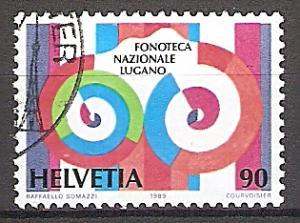 Briefmarke Schweiz Mi.Nr. 1400 o Schweizerische Landesphonothek 1989 Motiv: Stilisiertes Tonband (#10090)