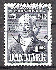Briefmarke Dänemark Mi.Nr. 542 o 200 Jahre Königliche Veterinärschule in Christianshavn 1973 Motiv: Persönlichkeiten - Peter Christian Abildgaard (1740-1801), Gründer der Schule (#10091)