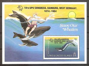 Briefmarke Turks und Caicos Inseln Mi.Nr. Block 50 ** Weltpostkongress, Hamburg 1984 (UPU) Motiv: Wale, Neptun (#10093)