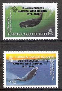 Briefmarke Turks und Caicos Inseln Mi.Nr. 699-700 ** Weltpostkongress, Hamburg 1984 (UPU) (Kompletter Satz!) Motiv: Wale (#10094)